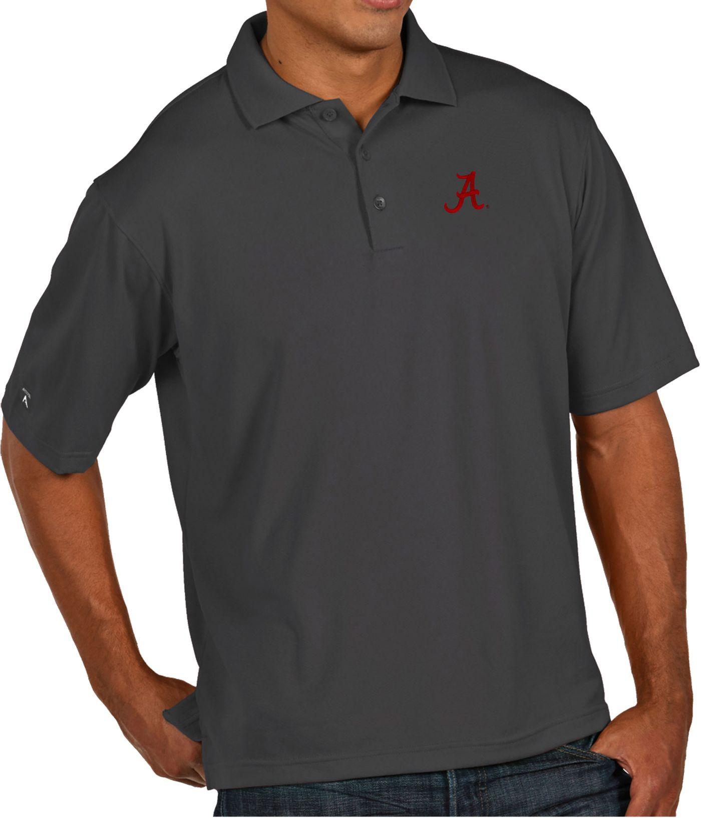 Antigua Men's Alabama Crimson Tide Grey Pique Xtra-Lite Polo