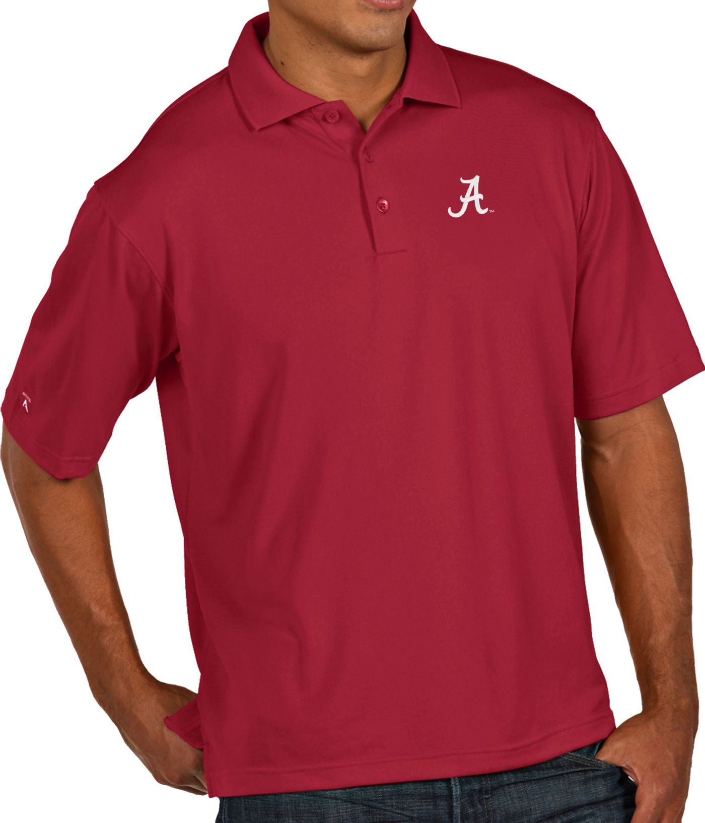 Antigua Men's Alabama Crimson Tide Crimson Pique Xtra-Lite Polo