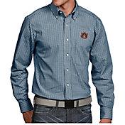 Antigua Men's Auburn Tigers Blue Associate Button Down Long Sleeve Shirt