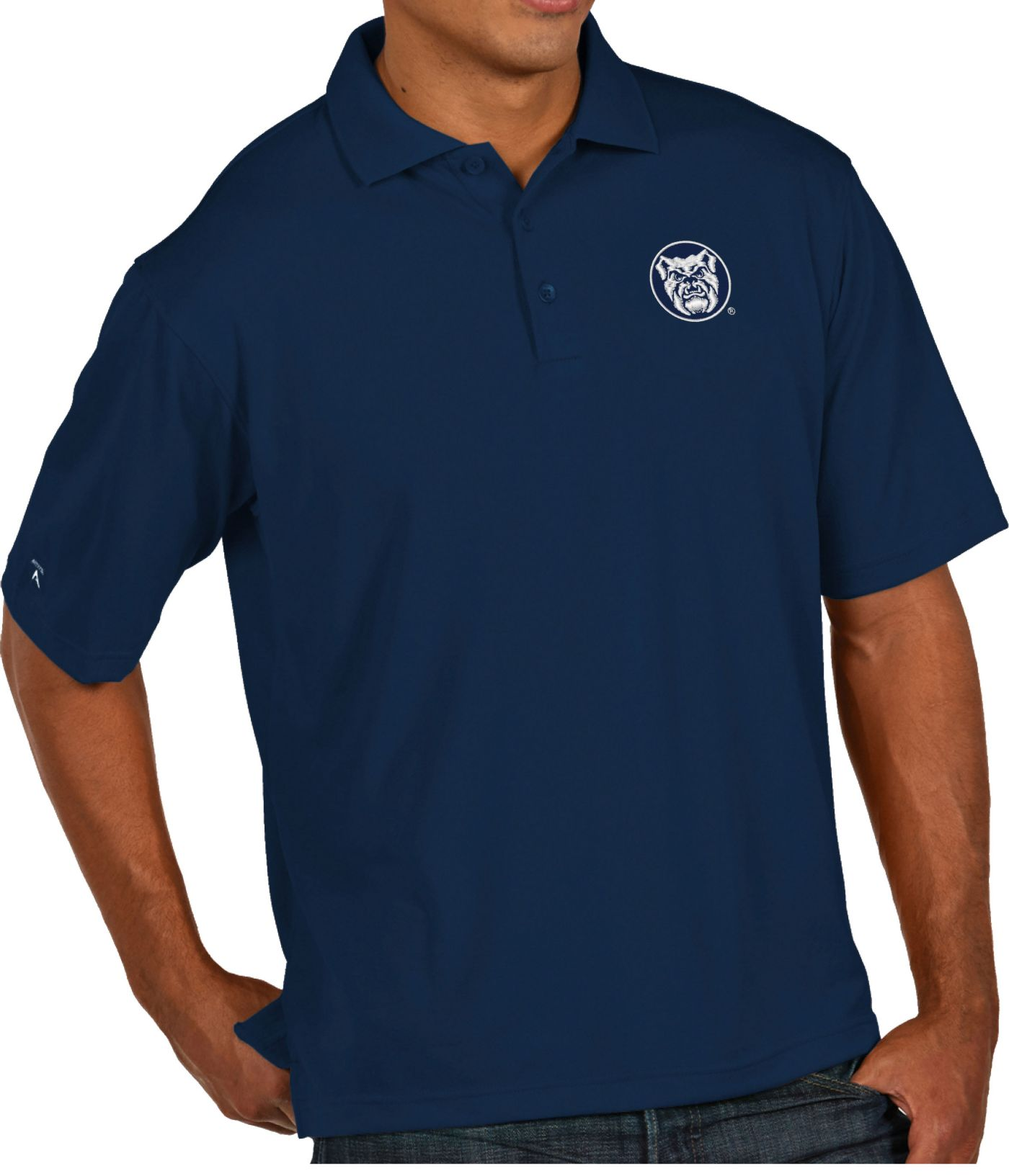 Antigua Men's Butler Bulldogs Blue Pique Xtra-Lite Polo