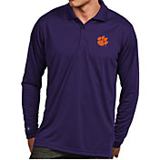 Antigua Men's Clemson Tigers Regalia Exceed Long Sleeve Polo