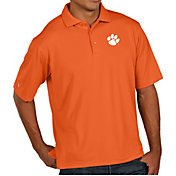 Antigua Men's Clemson Tigers Orange Pique Xtra-Lite Polo
