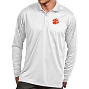 Antigua Men's Clemson Tigers White Exceed Long Sleeve Polo