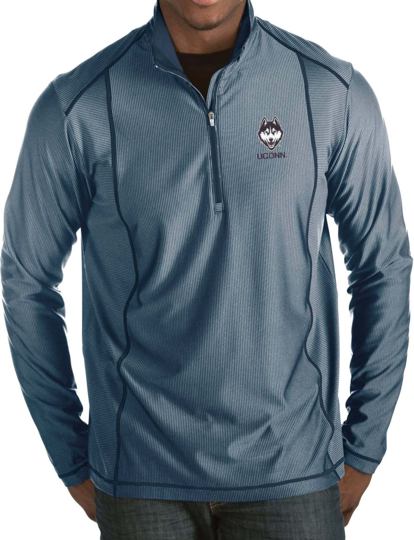 Antigua Men's UConn Huskies Blue Tempo Half-Zip Pullover