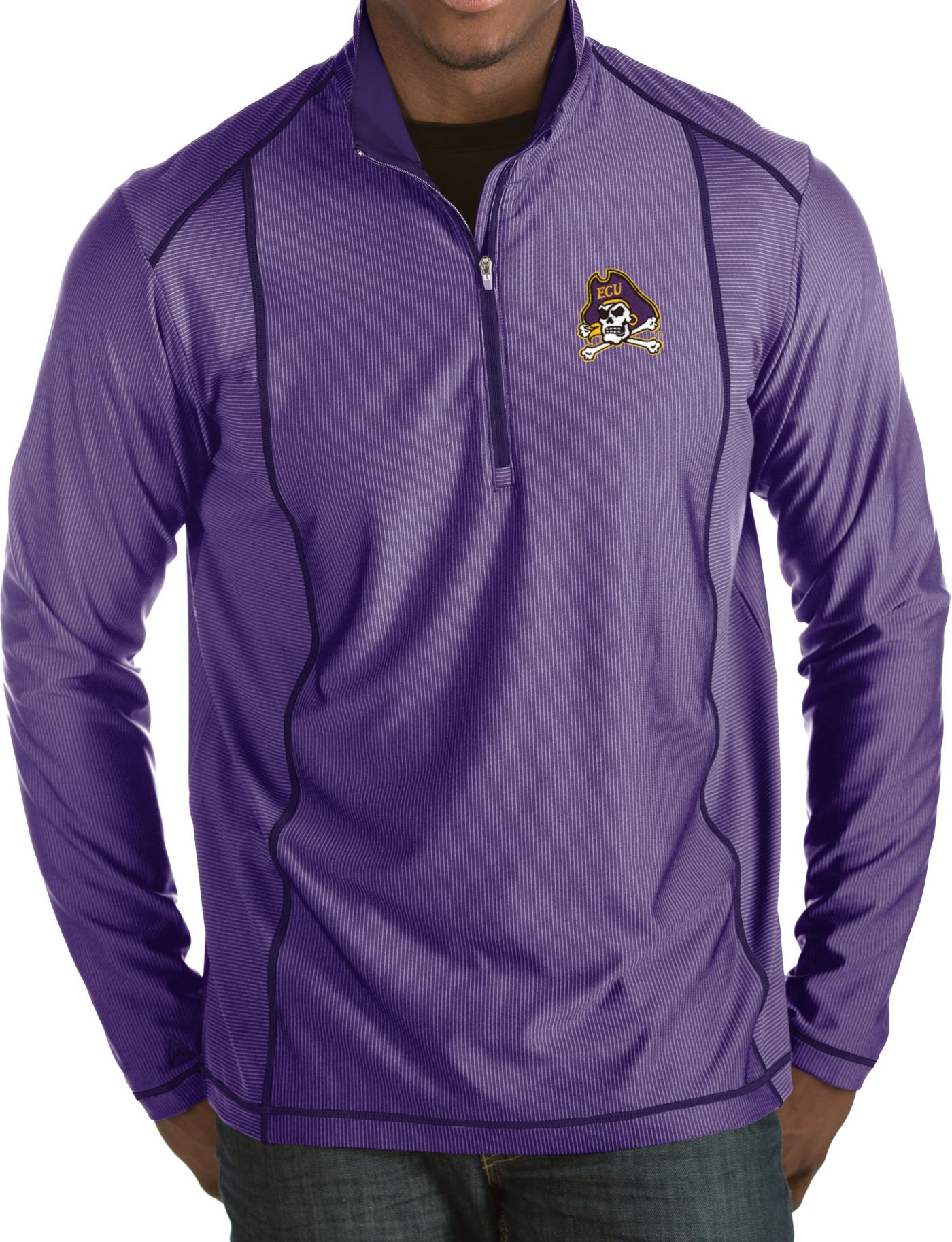 Antigua Men's East Carolina Pirates Purple Tempo Half-Zip Pullover