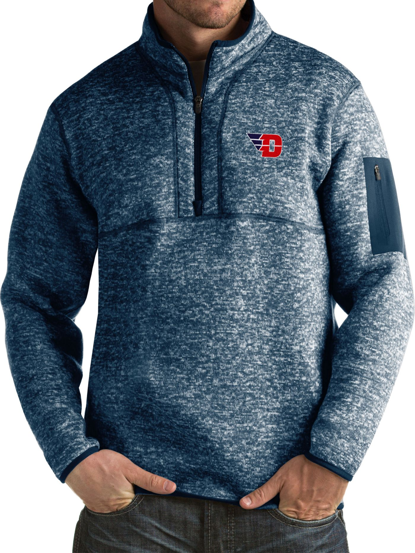 Antigua Men's Dayton Flyers Blue Fortune Pullover Jacket