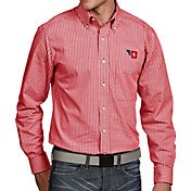 Antigua Men's Dayton Flyers Red Associate Button Down Long Sleeve Shirt