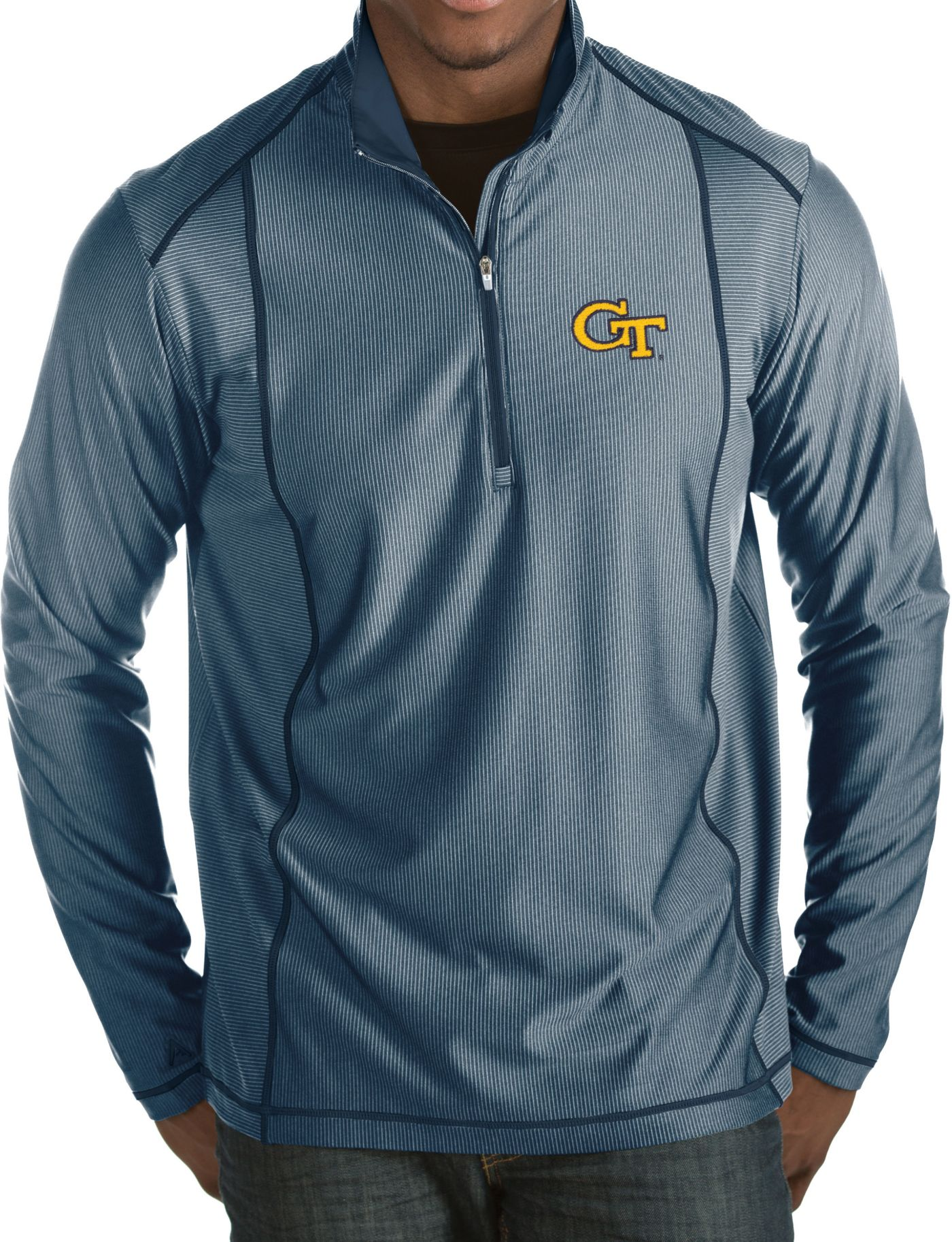 Antigua Men's Georgia Tech Yellow Jackets Navy Tempo Half-Zip Pullover