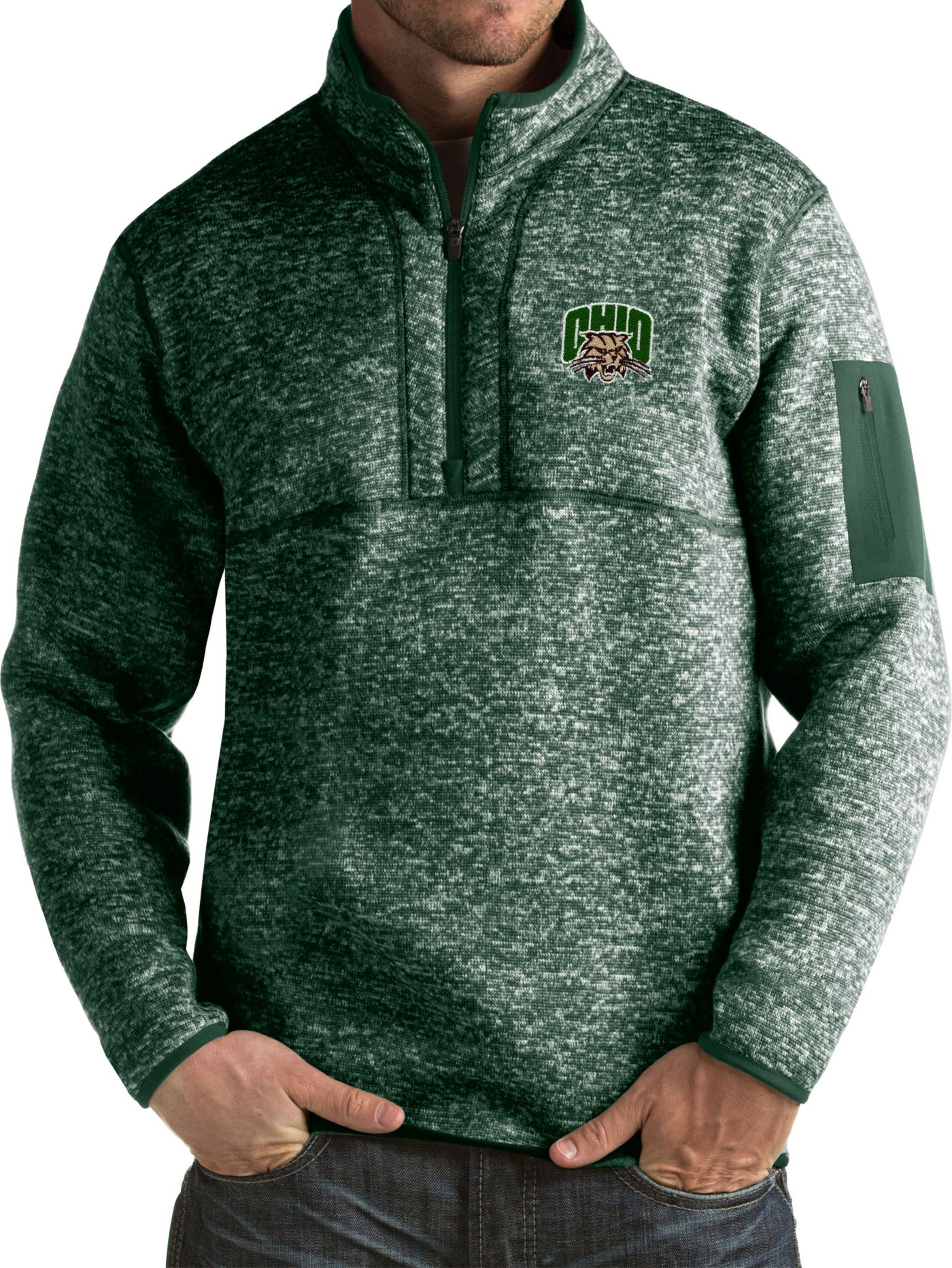 Antigua Men's Ohio Bobcats Green Fortune Pullover Jacket