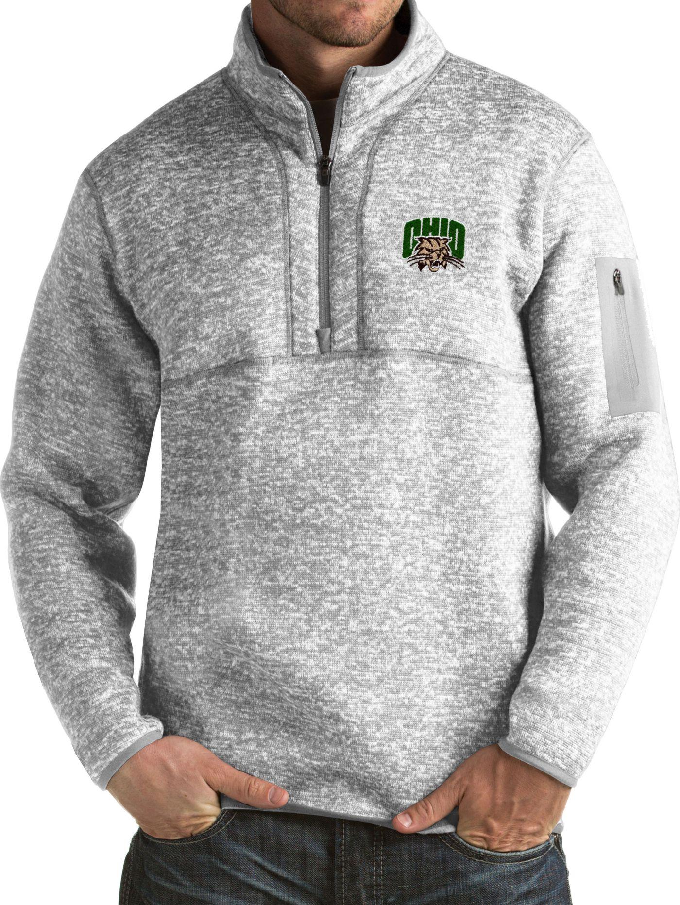 Antigua Men's Ohio Bobcats Grey Fortune Pullover Jacket