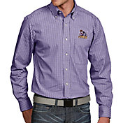 Antigua Men's James Madison Dukes Purple Associate Button Down Long Sleeve Shirt