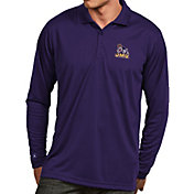 Antigua Men's James Madison Dukes Purple Exceed Long Sleeve Polo