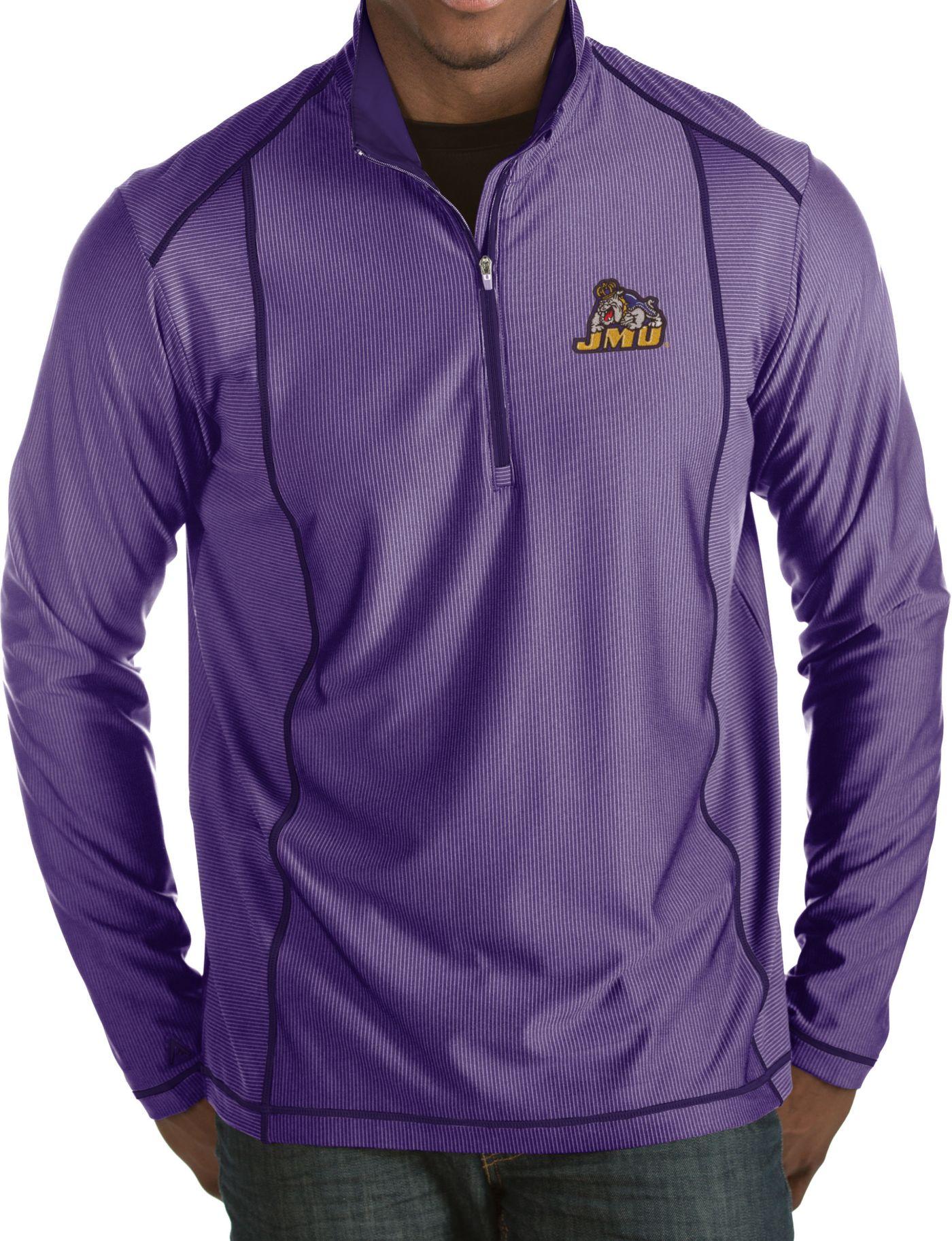 Antigua Men's James Madison Dukes Purple Tempo Half-Zip Pullover