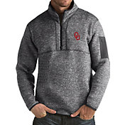 Antigua Men's Oklahoma Sooners Grey Fortune Pullover Jacket