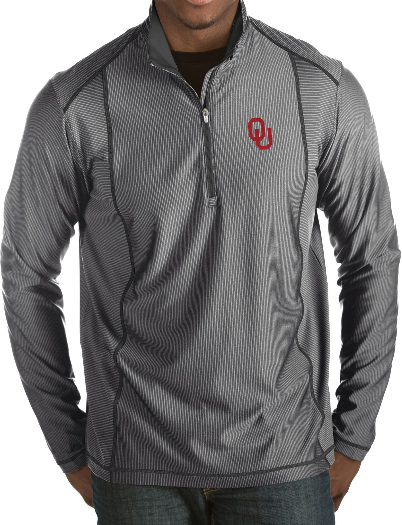 Antigua Men's Oklahoma Sooners Grey Tempo Half-Zip Pullover