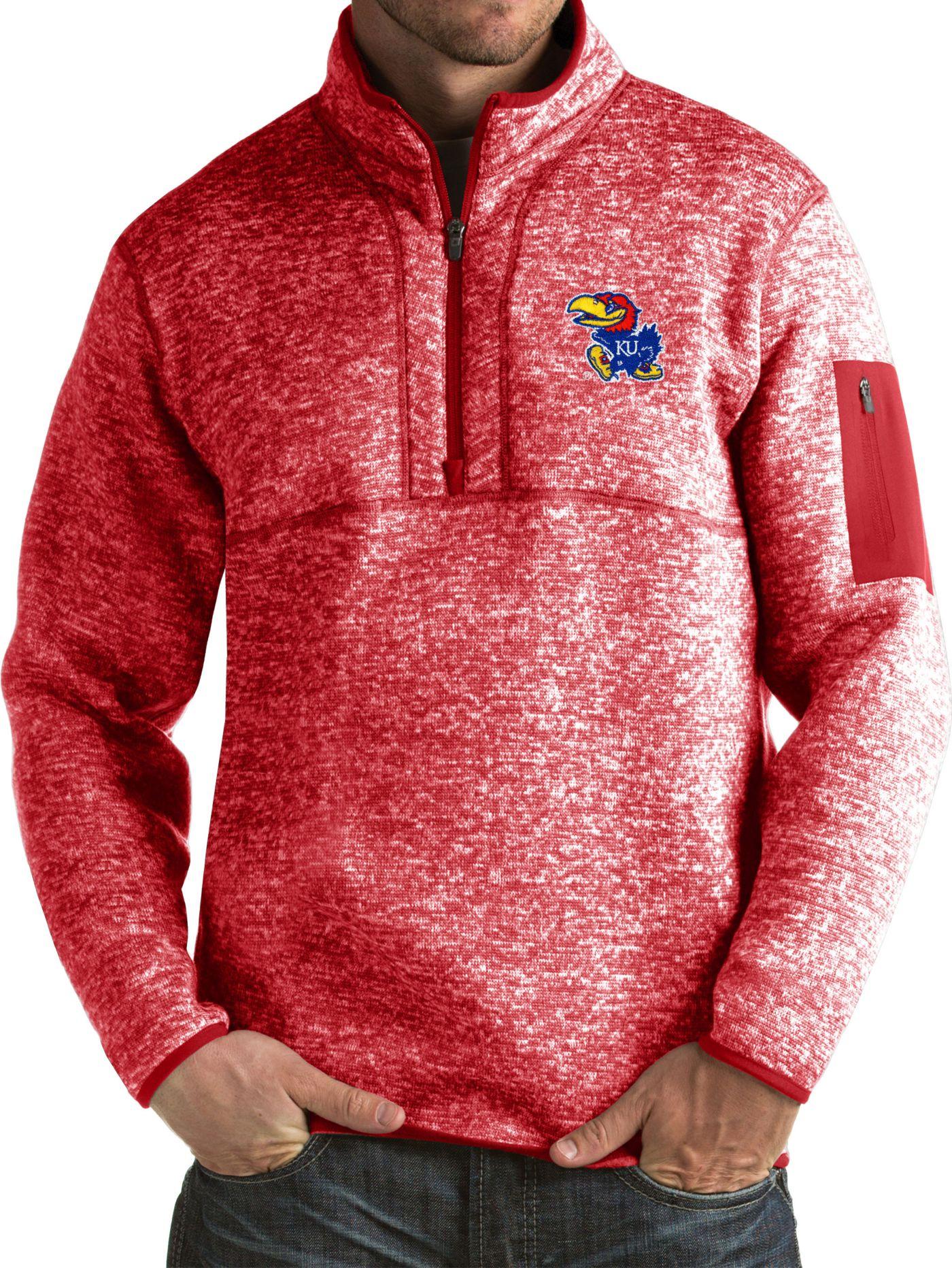 Antigua Men's Kansas Jayhawks Crimson Fortune Pullover Jacket