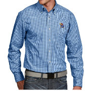 Antigua Men's Kansas Jayhawks Blue Associate Button Down Long Sleeve Shirt