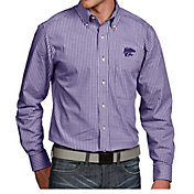 Antigua Men's Kansas State Wildcats Purple Associate Button Down Long Sleeve Shirt