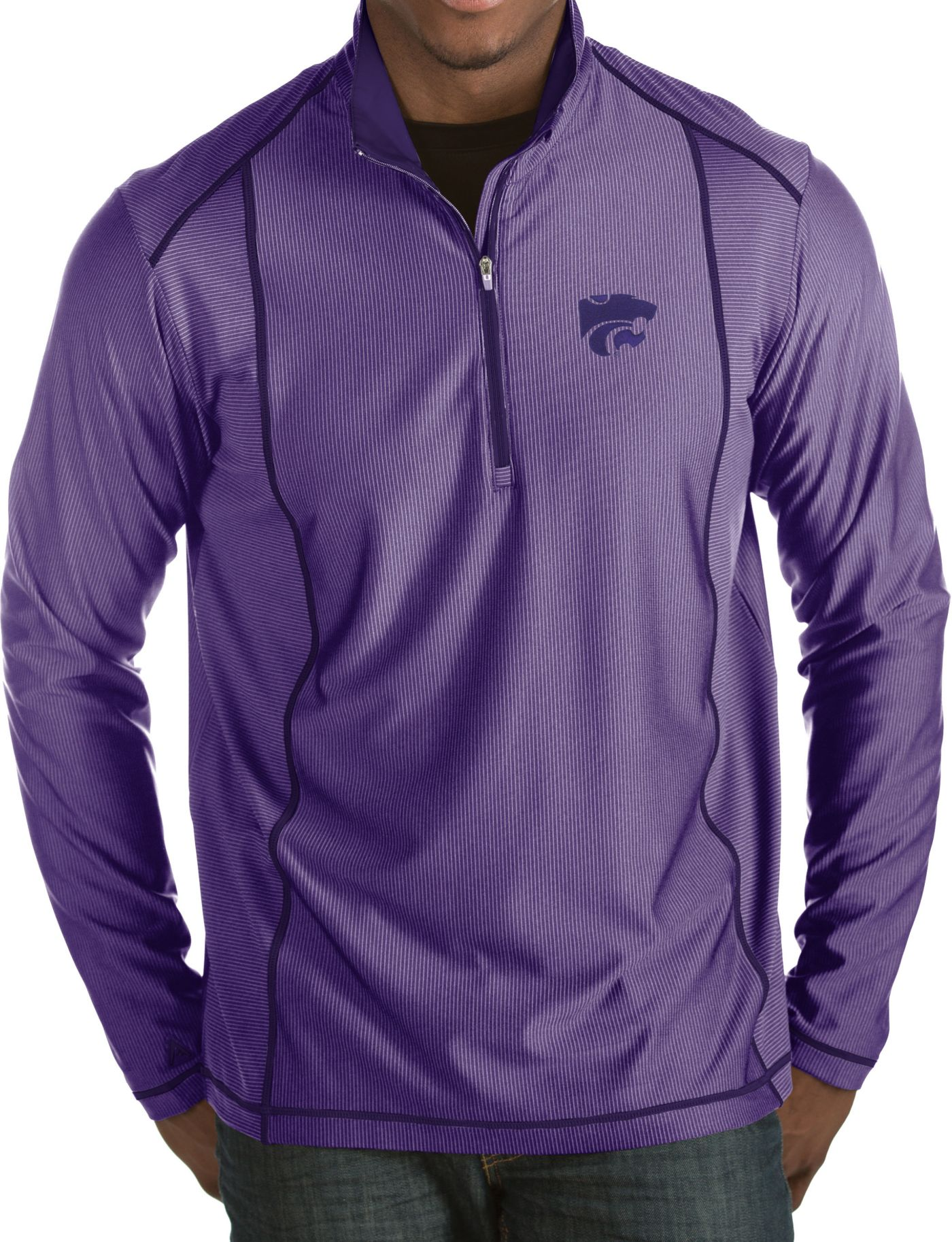 Antigua Men's Kansas State Wildcats Purple Tempo Half-Zip Pullover