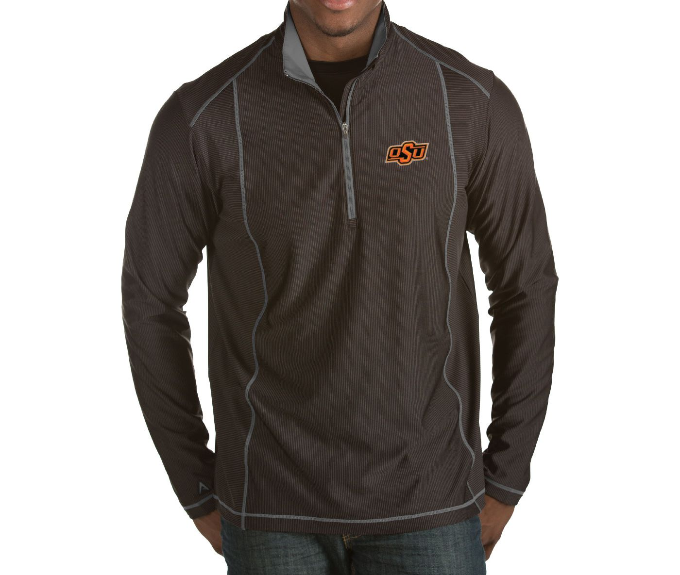 Antigua Men's Oklahoma State Cowboys Black Tempo Half-Zip Pullover