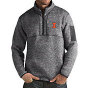 Antigua Men's Illinois Fighting Illini Grey Fortune Pullover Jacket