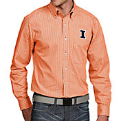Antigua Men's Illinois Fighting Illini Orange Associate Button Down Long Sleeve Shirt