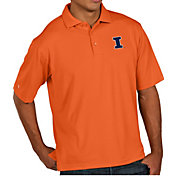 b3eec437afd2 Product Image · Antigua Men s Illinois Fighting Illini Orange Pique  Xtra-Lite Polo
