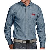 Antigua Men's Ole Miss Rebels Blue Associate Button Down Long Sleeve Shirt