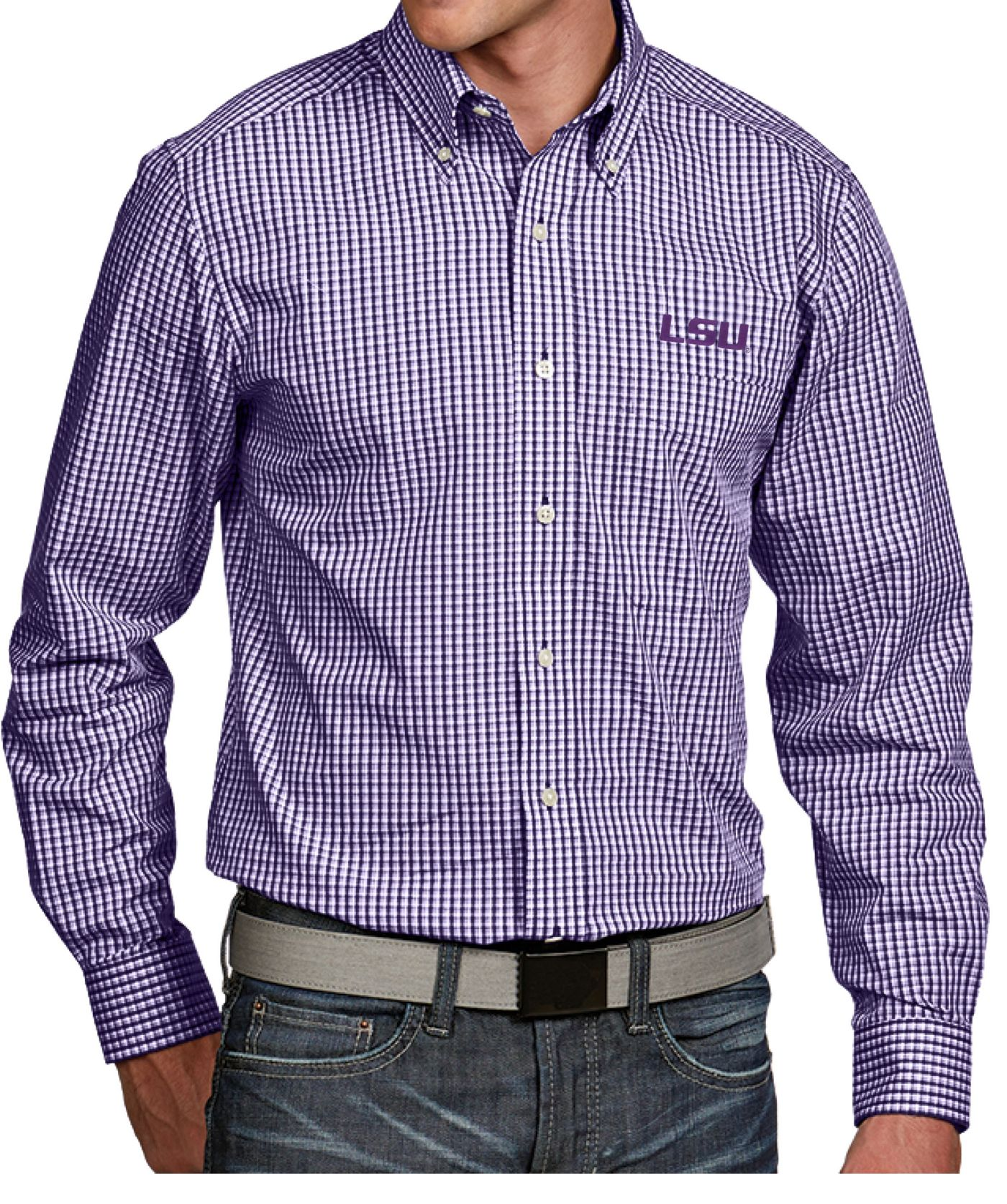 Antigua Men's LSU Tigers Purple Associate Button Down Long Sleeve Shirt