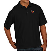 Antigua Men's Louisville Cardinals Black Pique Xtra-Lite Polo