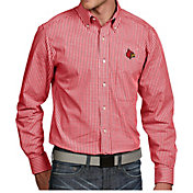 Antigua Men's Louisville Cardinals Cardinal Red Associate Button Down Long Sleeve Shirt