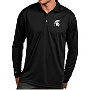 Antigua Men's Michigan State Spartans Black Exceed Long Sleeve Polo
