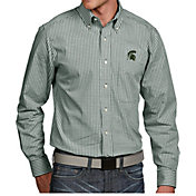 Antigua Men's Michigan State Spartans Green Associate Button Down Long Sleeve Shirt
