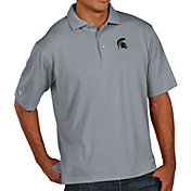 Antigua Men's Michigan State Spartans Grey Pique Xtra-Lite Polo