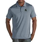 Antigua Men's Michigan State Spartans Grey Quest Polo