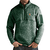 Antigua Men's Miami Hurricanes Green Fortune Pullover Jacket