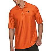 Antigua Men's Miami Hurricanes Orange Illusion Polo
