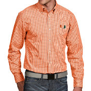 Antigua Men's Miami Hurricanes Orange Associate Button Down Long Sleeve Shirt