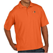 Antigua Men's Miami Hurricanes Orange Pique Xtra-Lite Polo