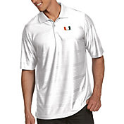 Antigua Men's Miami Hurricanes White Illusion Polo