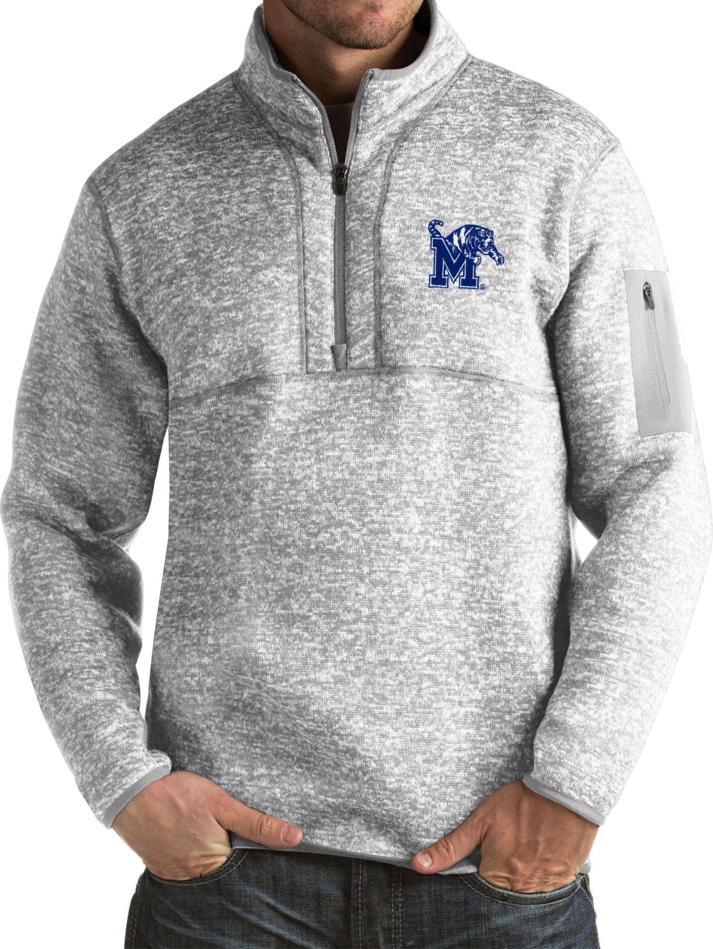 Antigua Men's Memphis Tigers Grey Fortune Pullover Jacket