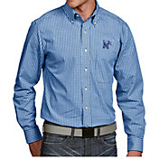 Antigua Men's Memphis Tigers Blue Associate Button Down Long Sleeve Shirt
