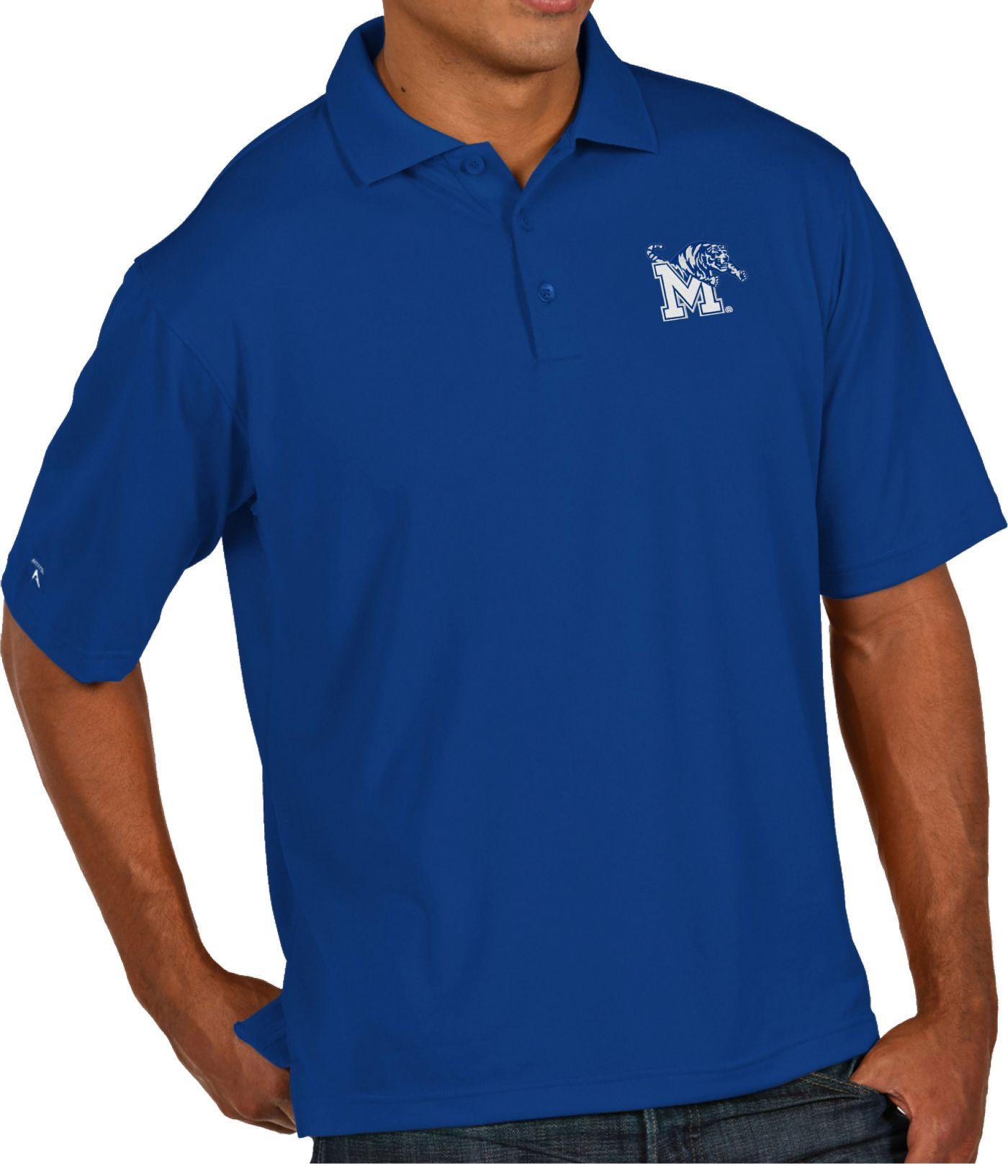 Antigua Men's Memphis Tigers Blue Pique Xtra-Lite Polo