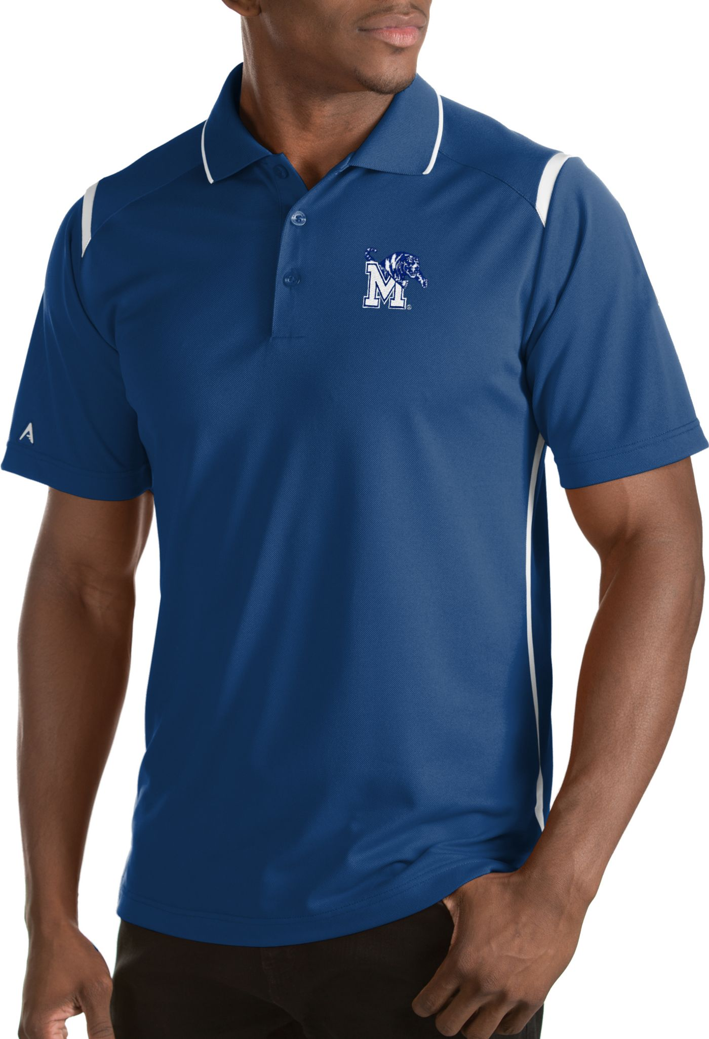 Antigua Men's Memphis Tigers Merit Xtra-Lite White Polo