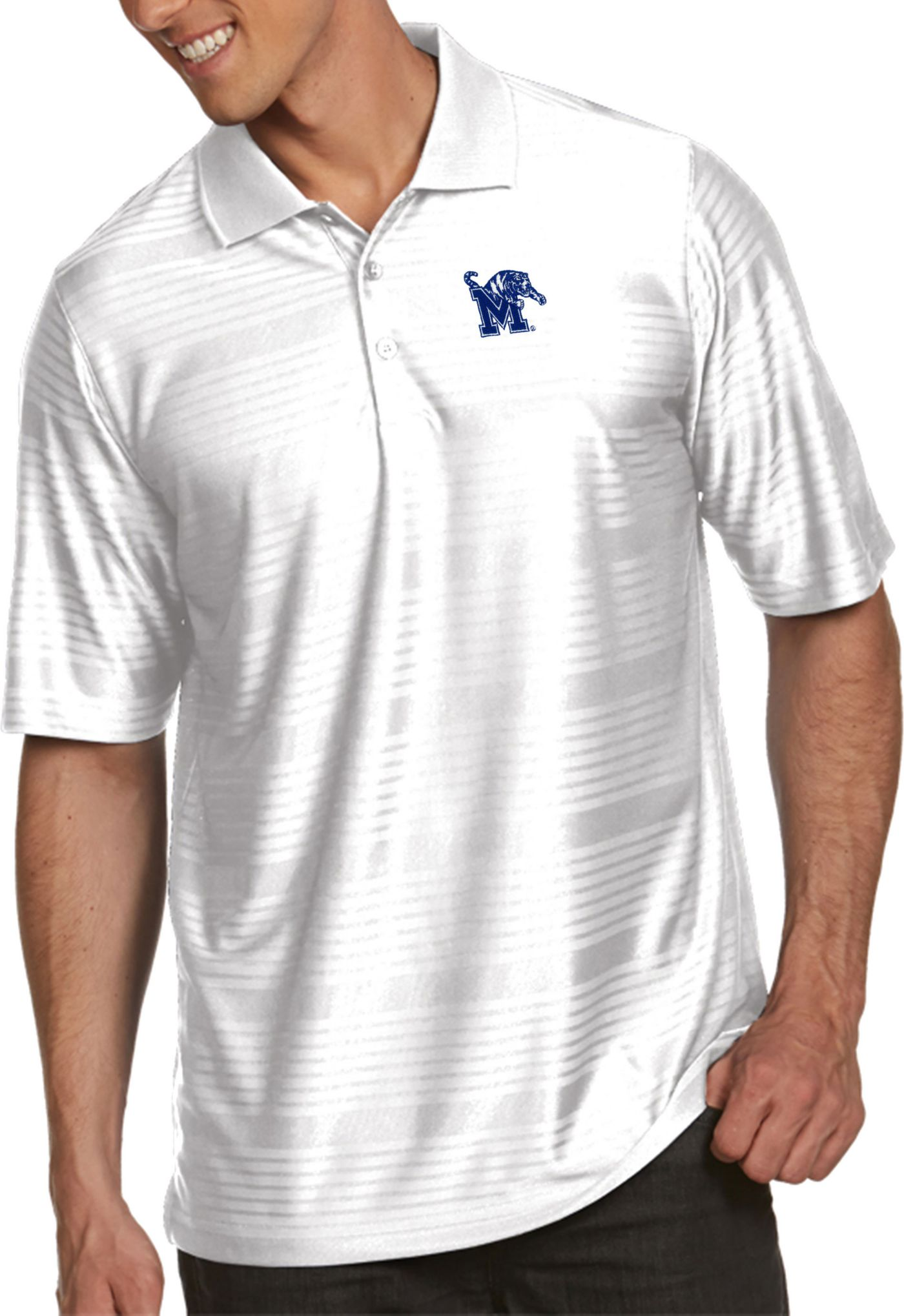 Antigua Men's Memphis Tigers White Illusion Polo