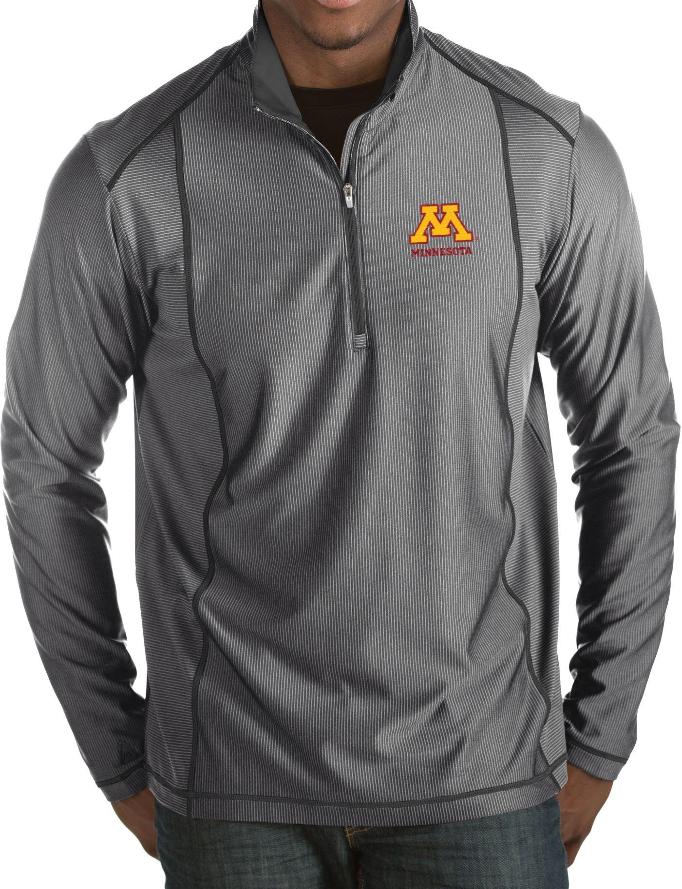 Antigua Men's Minnesota Golden Gophers Grey Tempo Half-Zip Pullover
