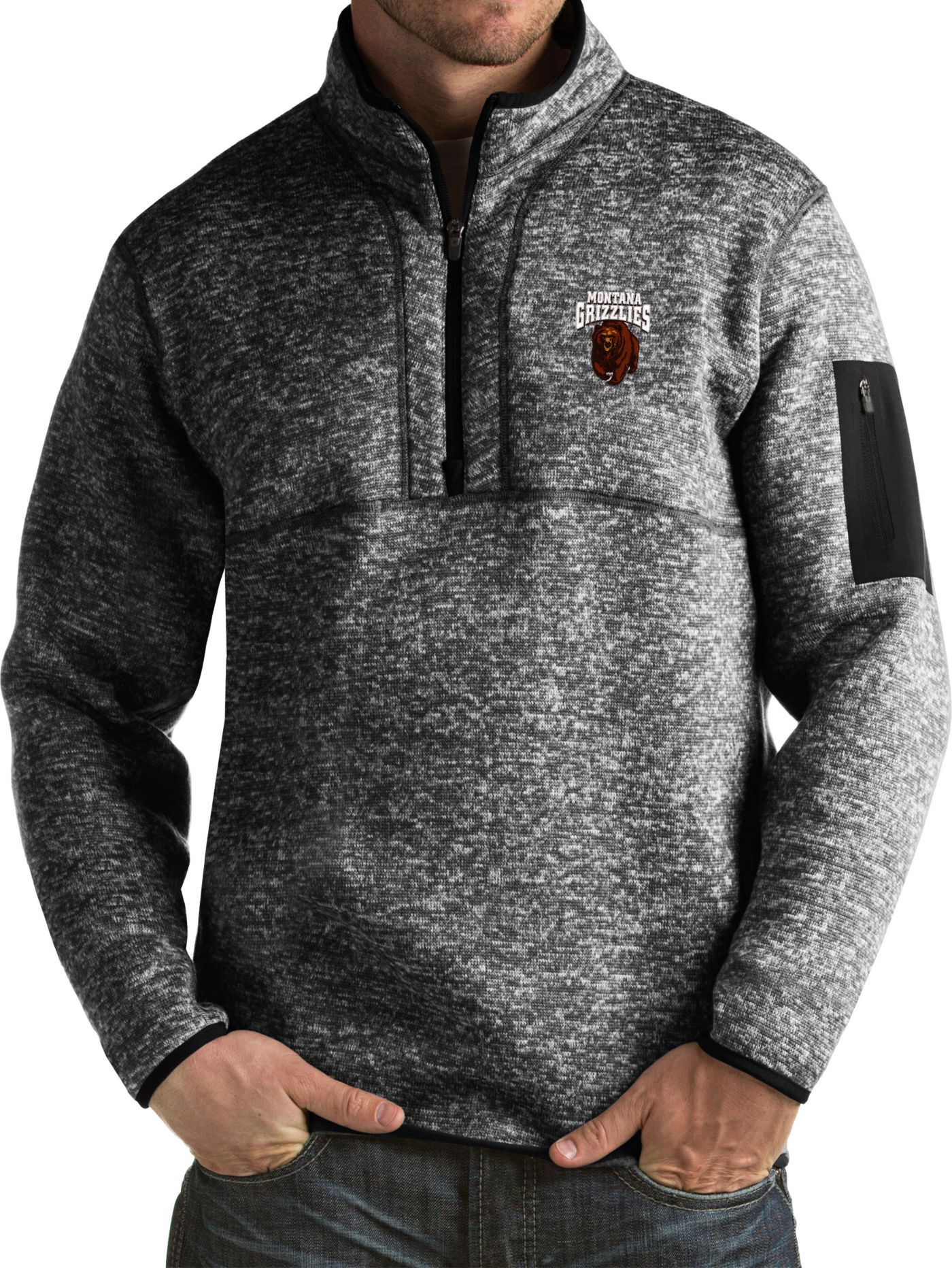 Antigua Men's Montana Grizzlies Black Fortune Pullover Jacket