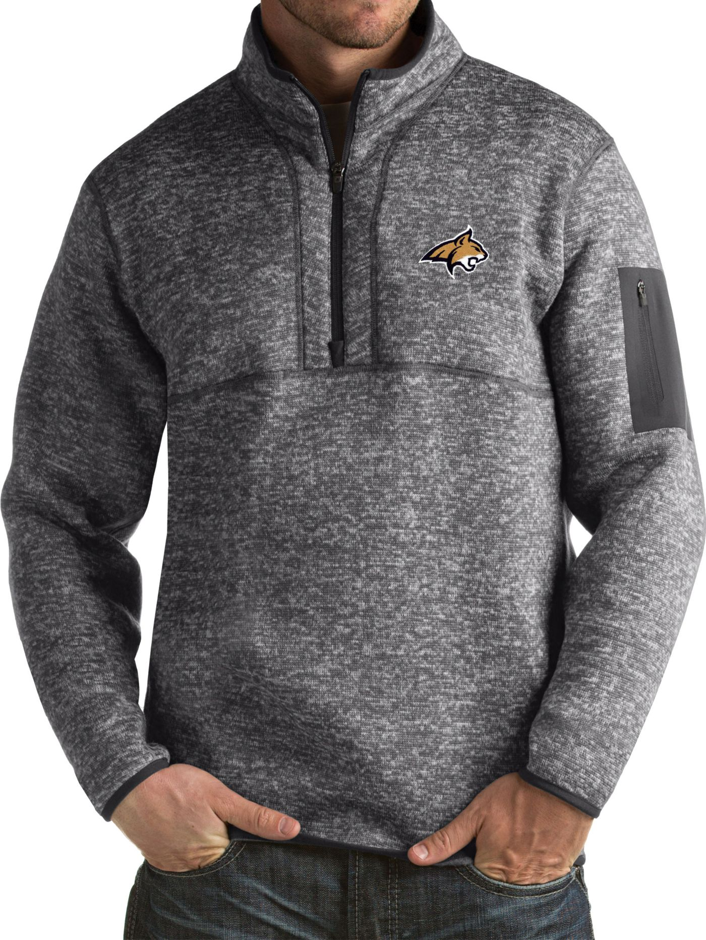 Antigua Men's Montana State Bobcats Grey Fortune Pullover Jacket