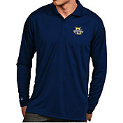 Antigua Men's Marquette Golden Eagles Blue Exceed Long Sleeve Polo