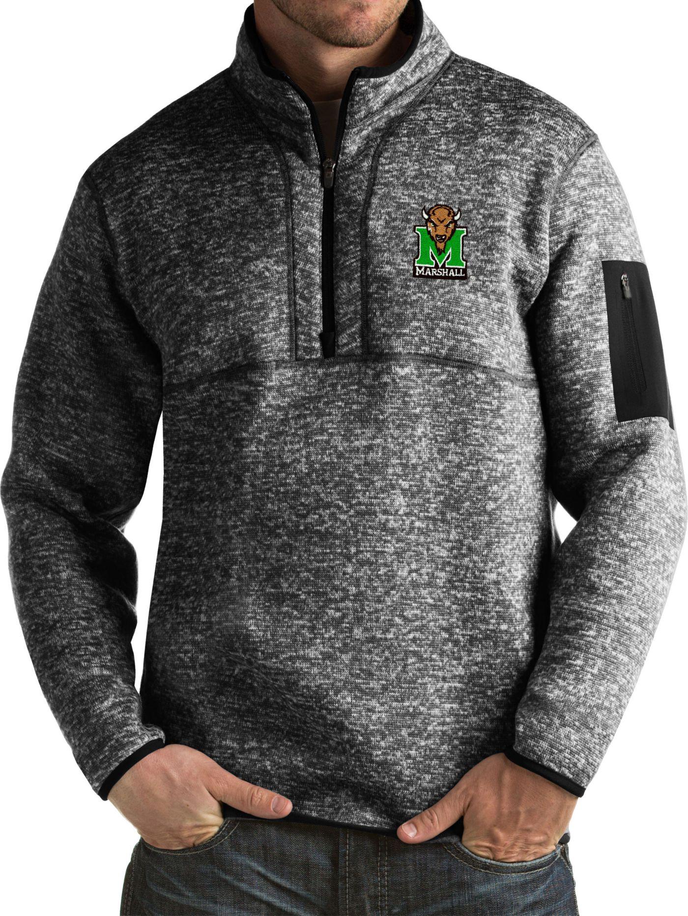 Antigua Men's Marshall Thundering Herd Black Fortune Pullover Jacket